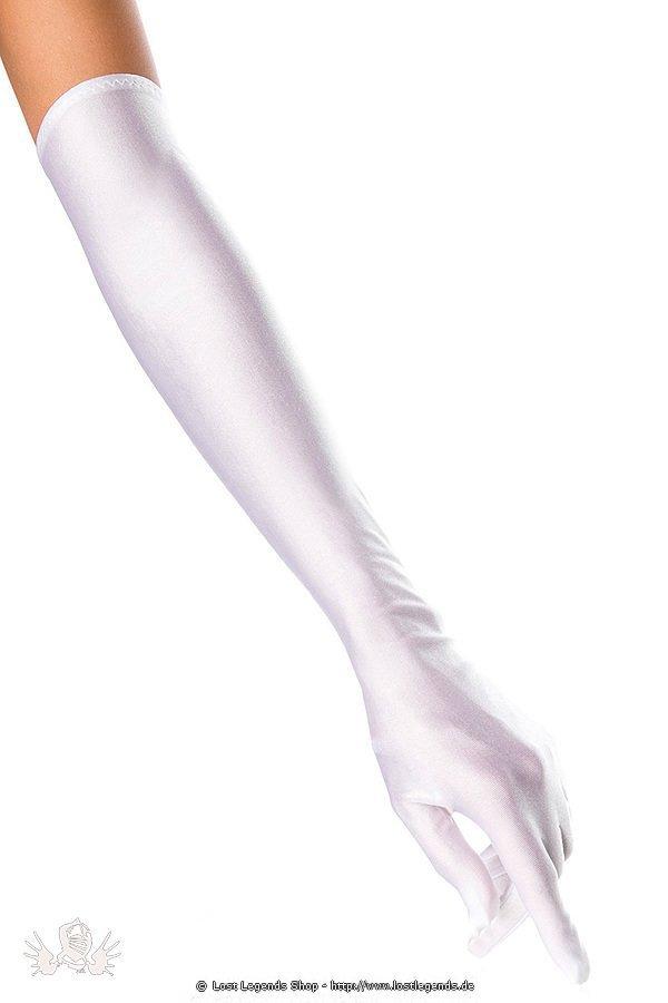 extra lange Satinhandschuhe weiß