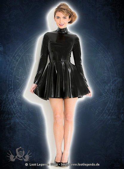 Fabulous High Neck Skater Dress Latex Kleid