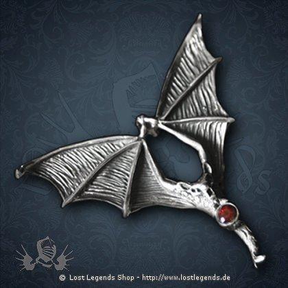 Fledermaus Anhänger Silber mit Granat
