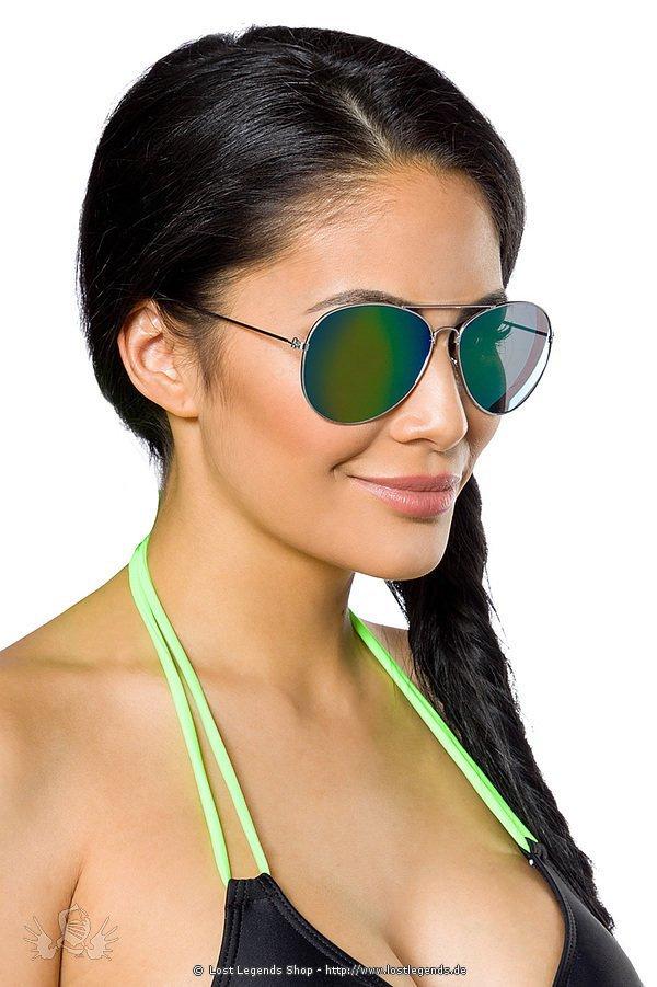 Fliegerbrille mit farbigen Gläsern