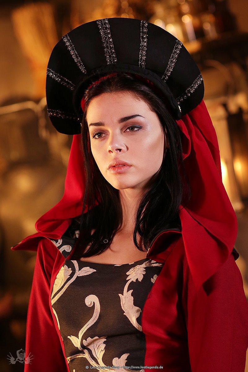Französische Haube schwarz Mittelalter Kopfbedeckung