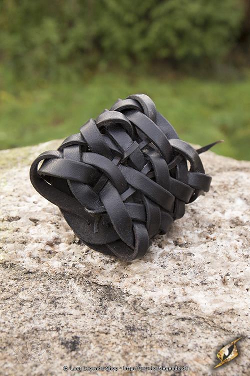Geflochtenes Lederarmband schwarz