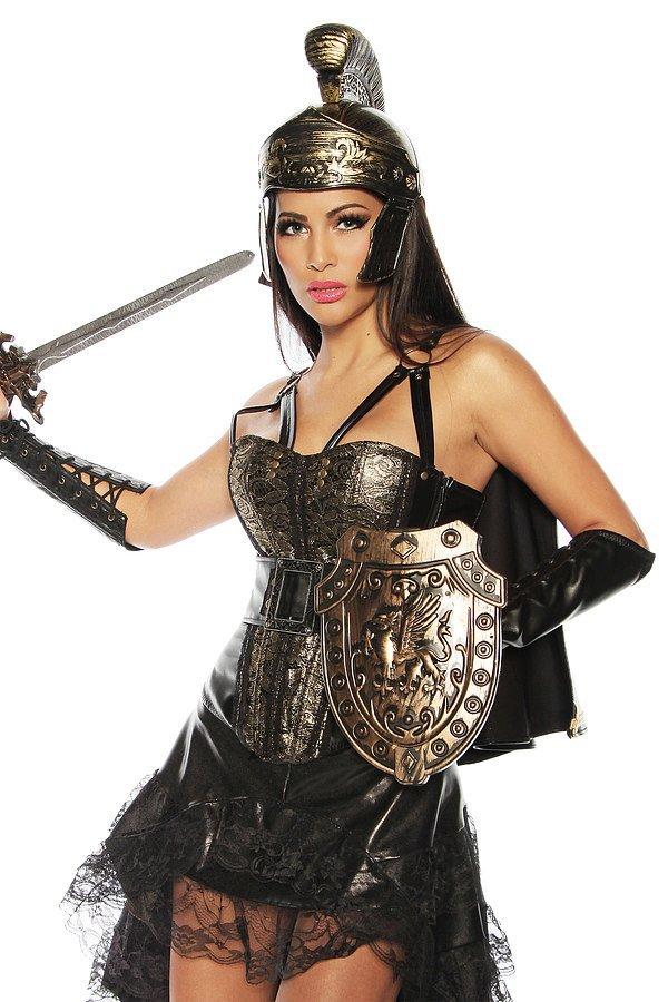 Gladiatoren-Corsage mit Helm gold/schwarz