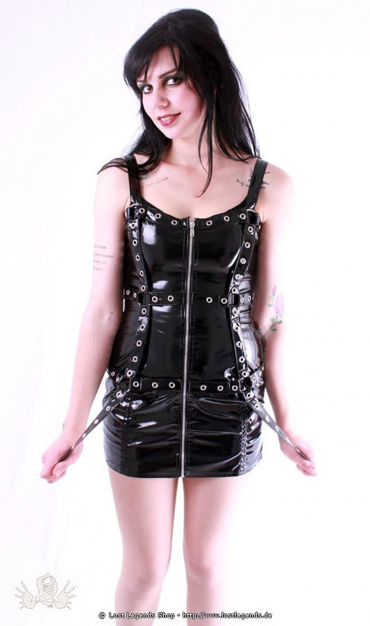 Gloss Cage Strap Gothic Lack Kleid