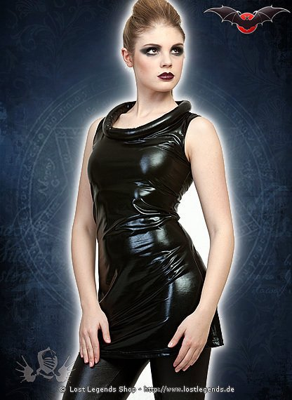 Gloss Gothic Kleid mit gepolstertem Kragen