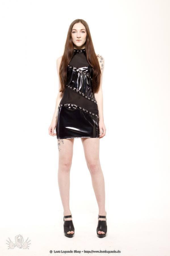 Gloss High Neck Gothic Lack Kleid