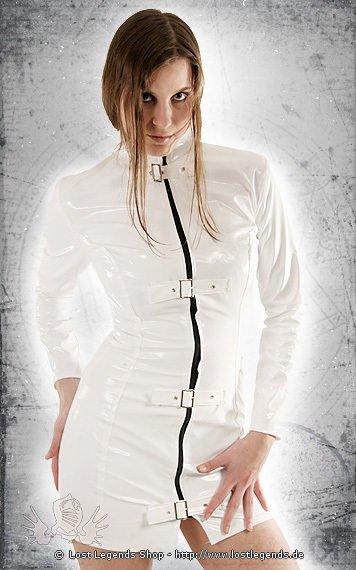 Gloss Longsleeve Buckle Dress Kleid, Lack