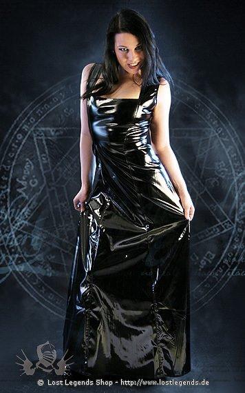 Gloss Sleeveless Long Flared Dress Kleid, Lack