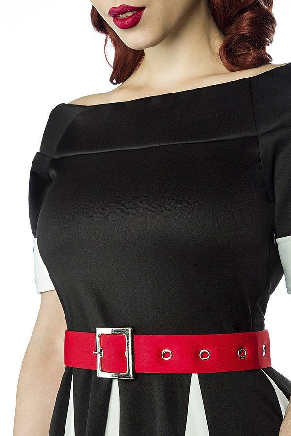 Godet-Kleid schwarz/weiß/rot