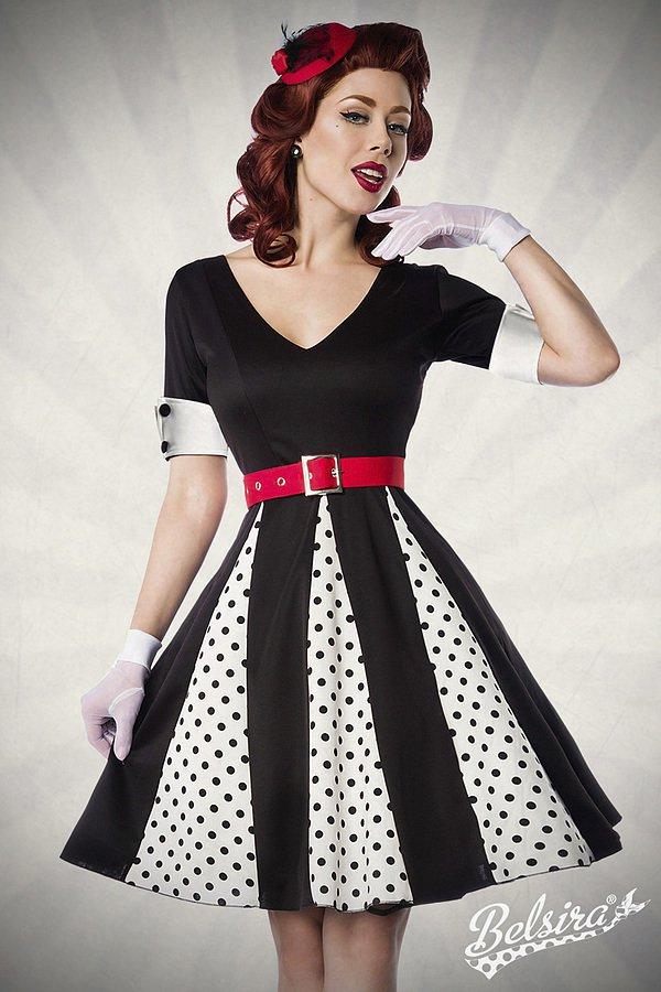Godet-Kleid weiß/schwarz/rot