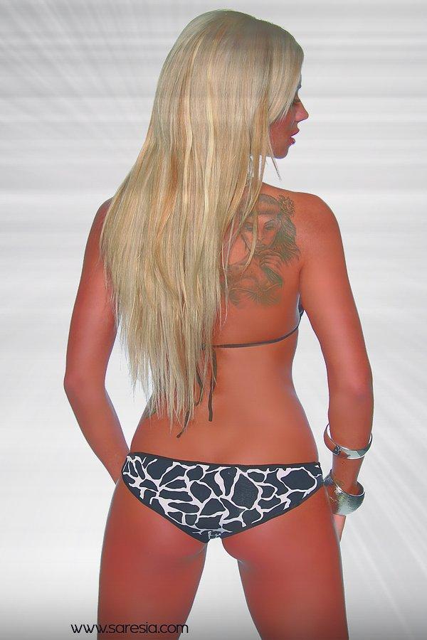 Gogo-Bikini schwarz/weiß