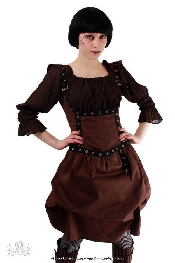 Golden Steam Unterbrust Steampunk Kleid