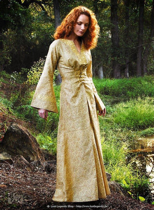 Goldfarbenes Mittelalterkleid Brokat