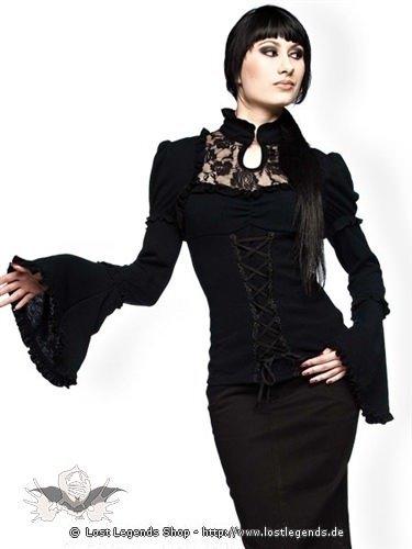Gothic Bluse mit Glockenärmeln