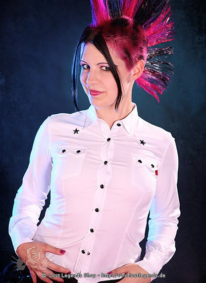 Gothic Bluse mit Sternen Longsleeve, weiss
