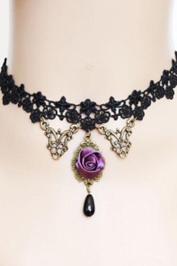 Gothic-Collier schwarz/lila