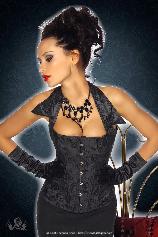 Gothic-Corsage mit Kragen schwarz