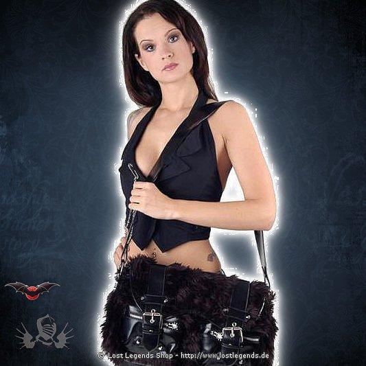 Gothic Fellhandtasche 2 Außentaschen mit