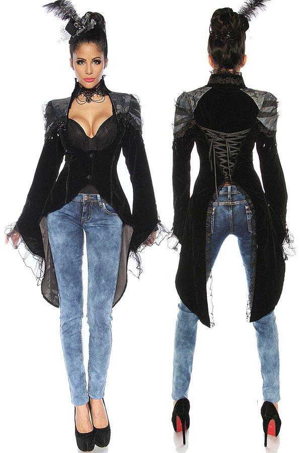 Gothic-Frack schwarz/blau