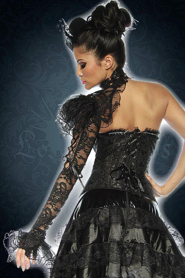Gothic-Halsband mit Ärmel schwarz