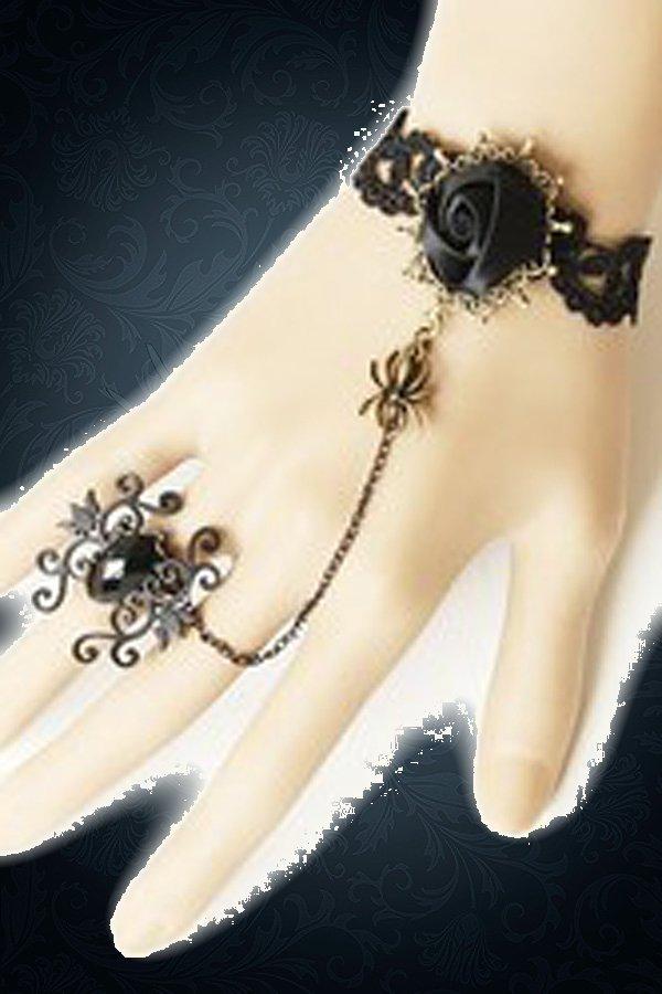 Gothic-Handschmuck mit Kette