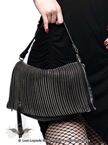 Gothic Handtasche mit Reißverschlüssen