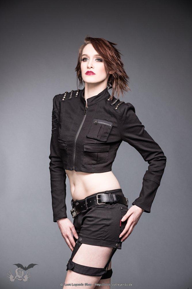 Gothic Jeans-Kurzjacke mit nietenbesetzten Schultern