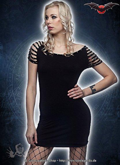 Gothic Kleid mit nietenbesetzten Ärmeln