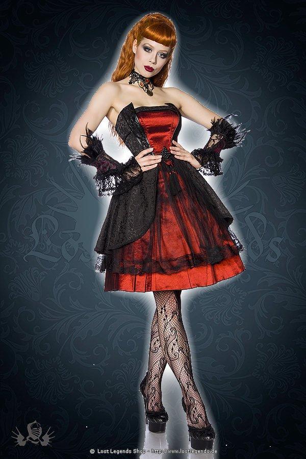Gothic-Kleid schwarz/burgund