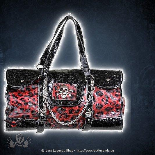 Gothic Lacktasche mit rotem Leopardenmuster