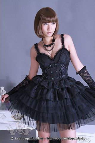 Gothic Lolita Kleid mit Rüschenrock