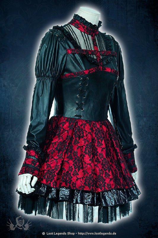Gothic Lolita Kleid mit rotem Spitzenbesatz