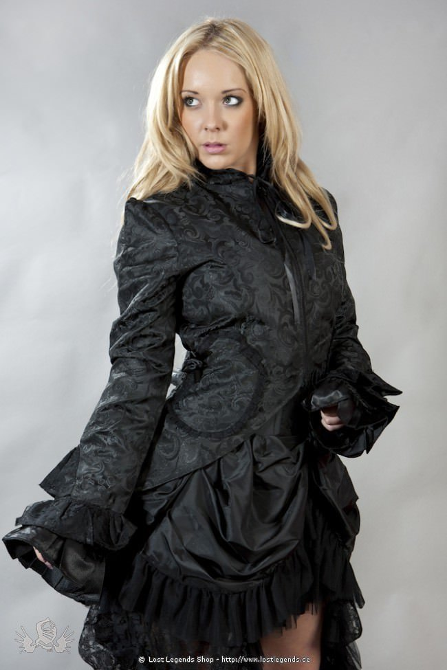 Gothic Pirate Coat Black Brocade