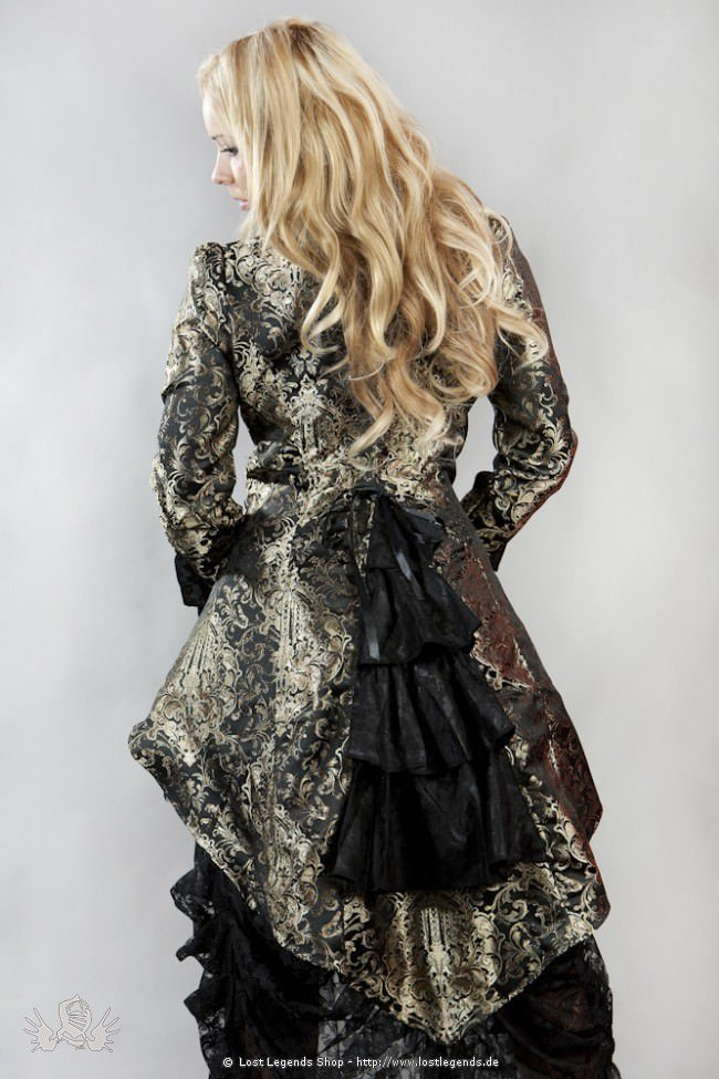 Gothic Pirate Coat Black-Gold Brocade