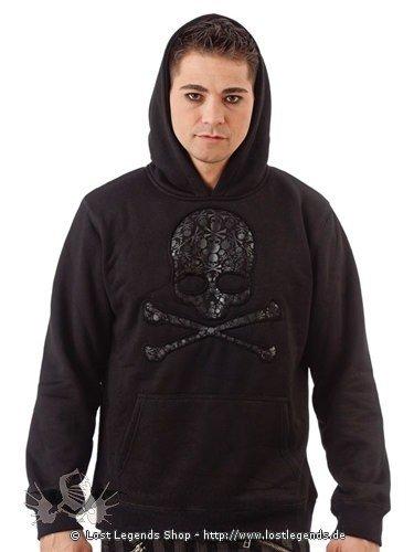 Gothic Pullover mit Totenkopf und Kapuze