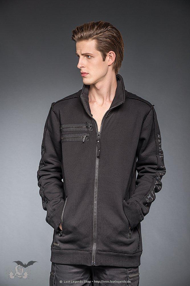 Gothic Sweater Jacke mit Drucken an den Armen