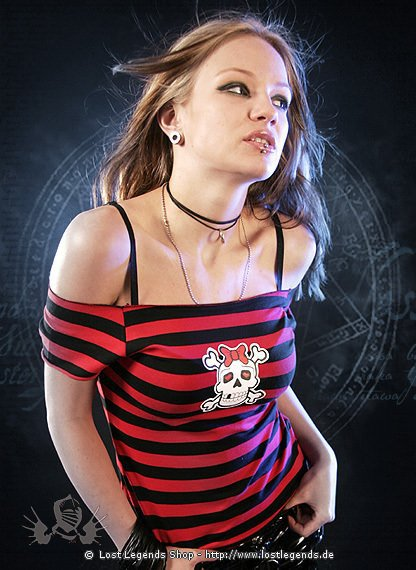 Gothic Top Girlie Skull Red Stripe