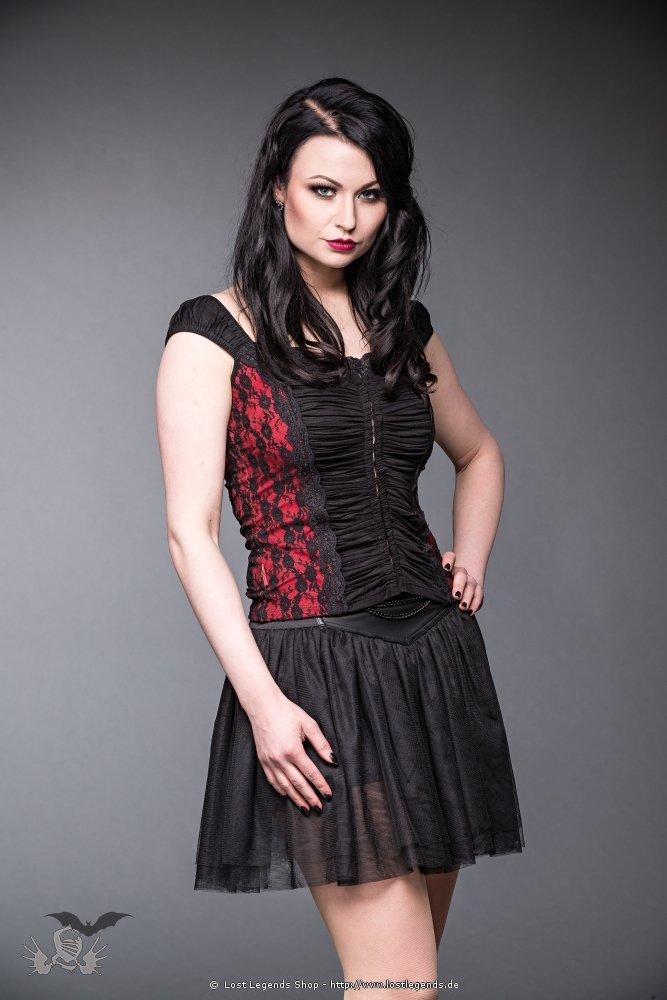 Gothic Top mit Raffung schwarz-rot