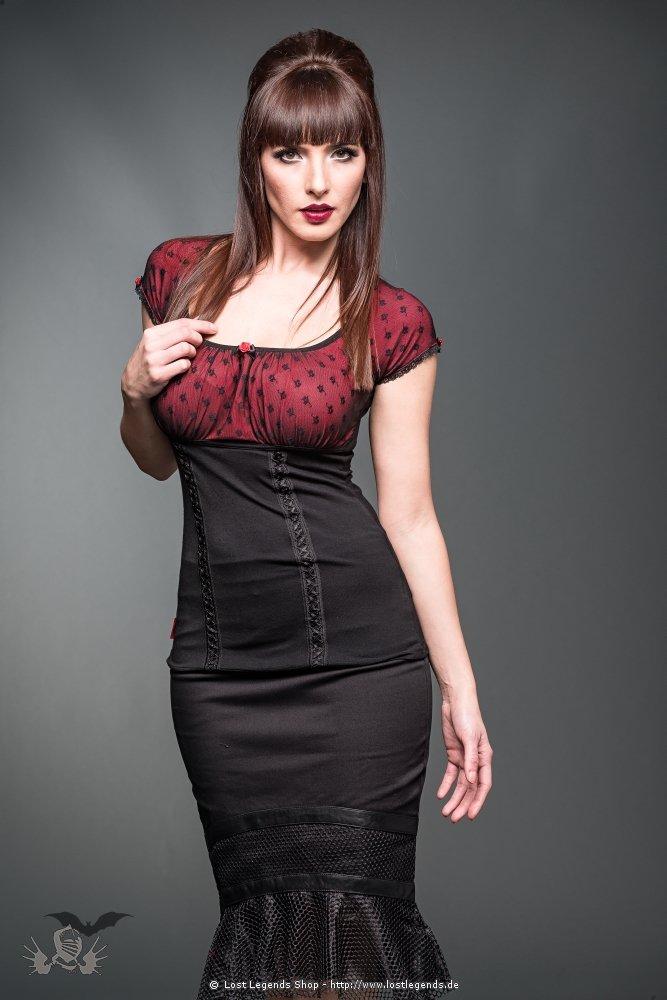 Gothic Top mit Spitze schwarz-rot