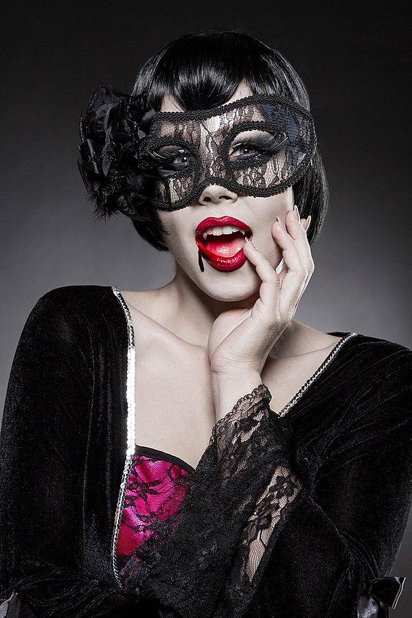 Gothic Vampire Komplettset schwarz/pink