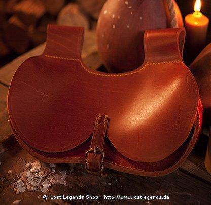 Gotische Tasche Leder, braun