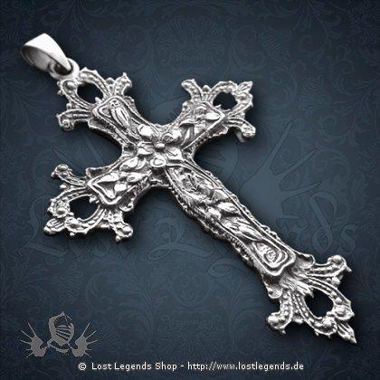 Gotisches Kreuz Anhänger, Silber