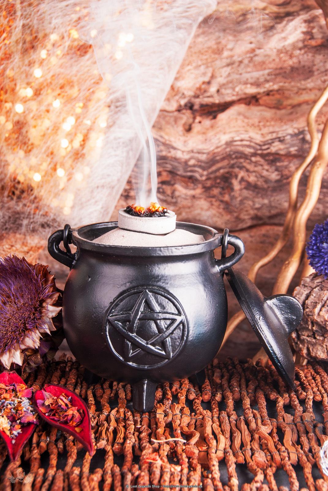 Großer Hexenkessel Pentagramm Gusseisen mit Henkel