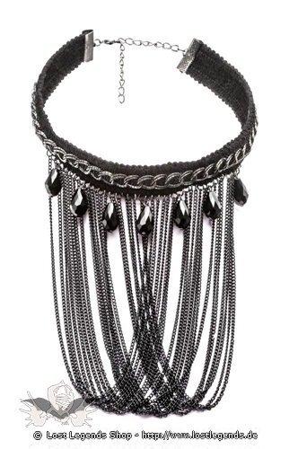 Halsband mit großen Perlen und langen Ketten