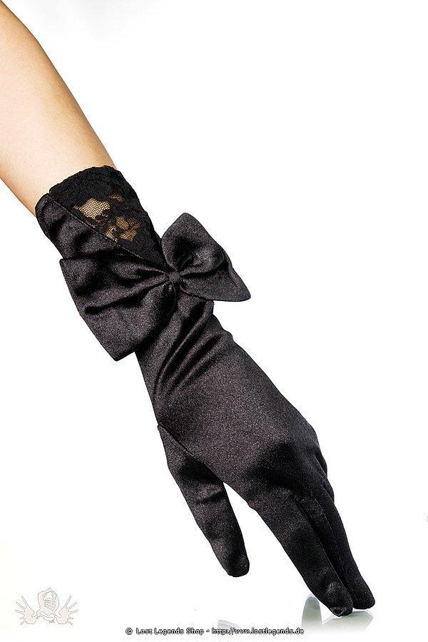 Handschuhe aus Satin schwarz