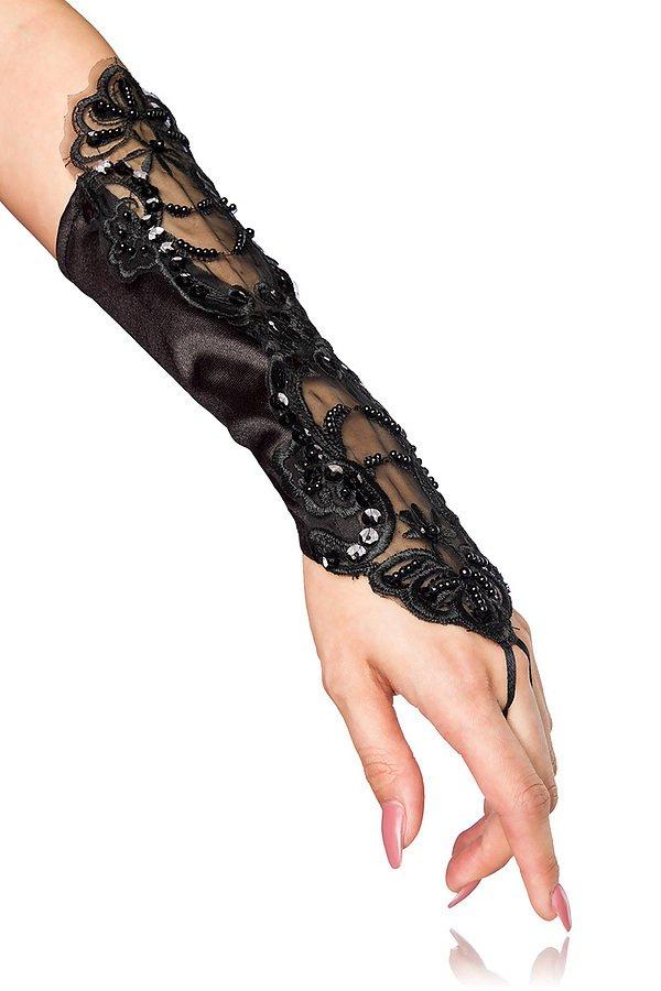 Handstulpen mit Stickerei schwarz