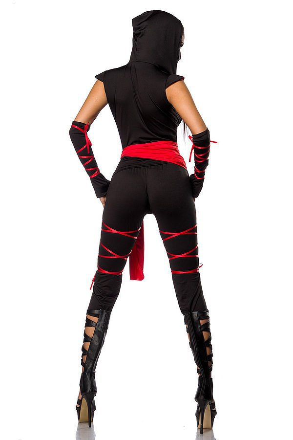 heißes Ninja-Outfit schwarz/rot
