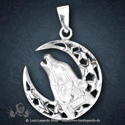 Heulender Wolf Anhänger Silber