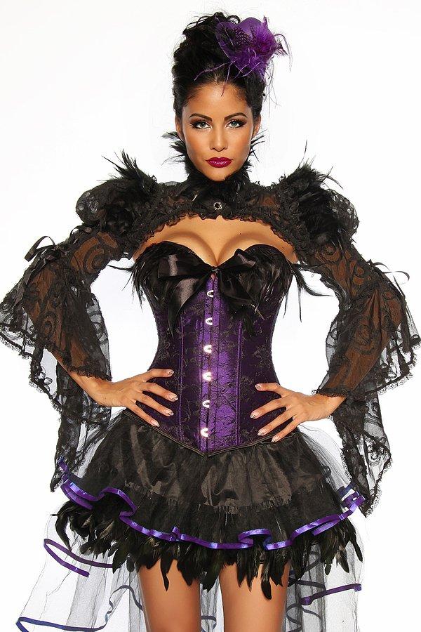 Hexen-Corsage violett/schwarz