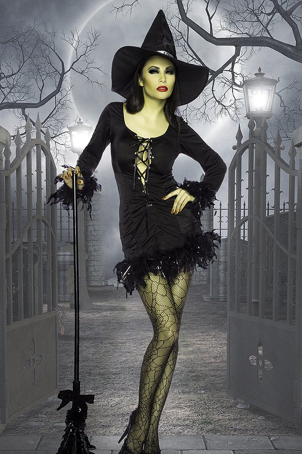 Hexen-Minikleid schwarz